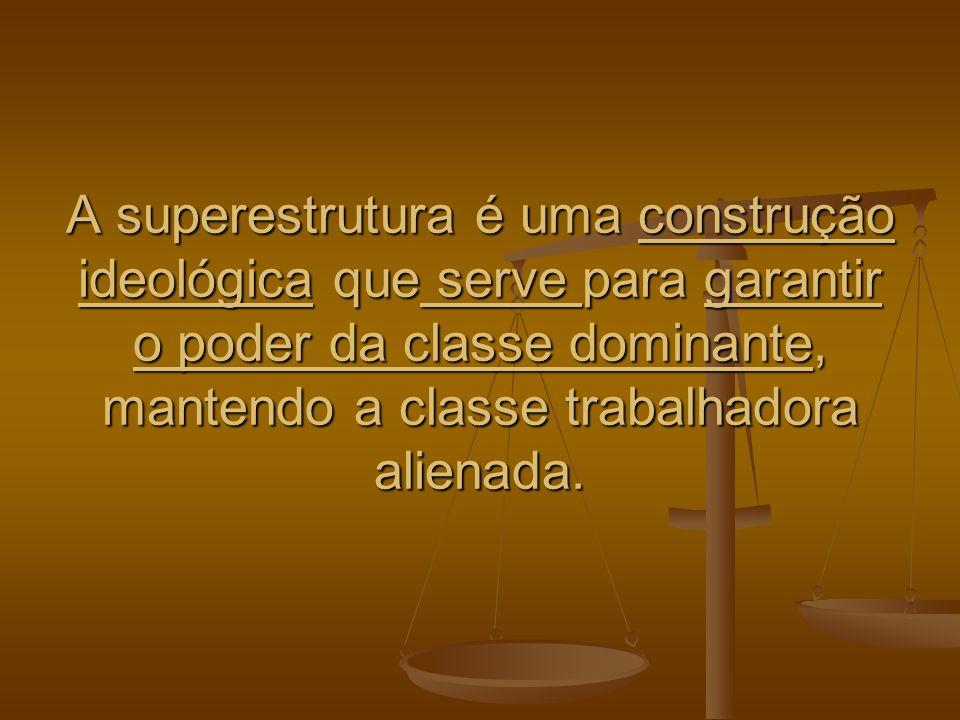 A superestrutura é uma construção ideológica que serve para garantir o poder da classe dominante, mantendo a classe trabalhadora alienada.