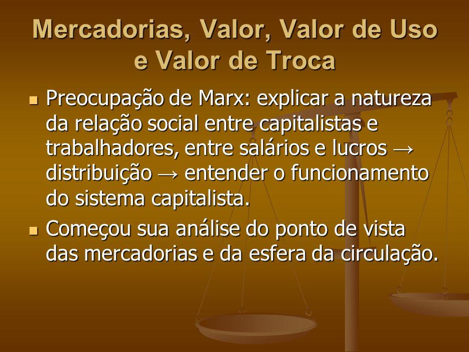 Mercadorias, Valor, Valor de Uso e Valor de Troca Preocupação de Marx: explicar a natureza da relação social entre capitalistas e trabalhadores, entre
