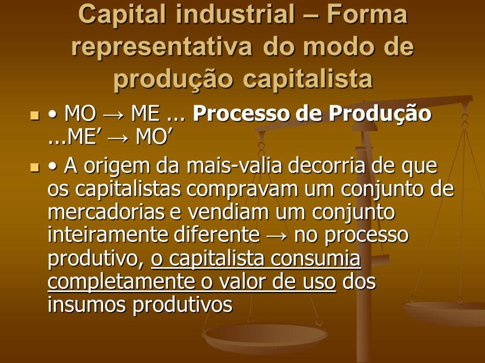 Capital industrial – Forma representativa do modo de produção capitalista MO ME... Processo de Produção...ME MO MO ME... Processo de Produção...ME MO