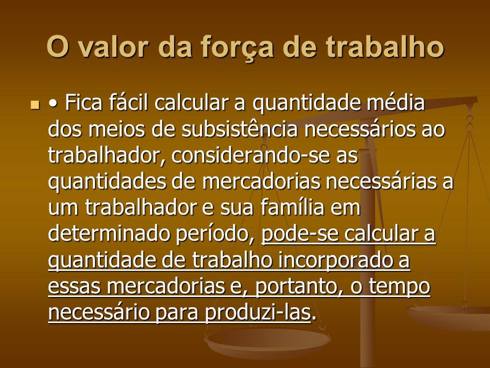 Fica fácil calcular a quantidade média dos meios de subsistência necessários ao trabalhador, considerando-se as quantidades de mercadorias necessárias