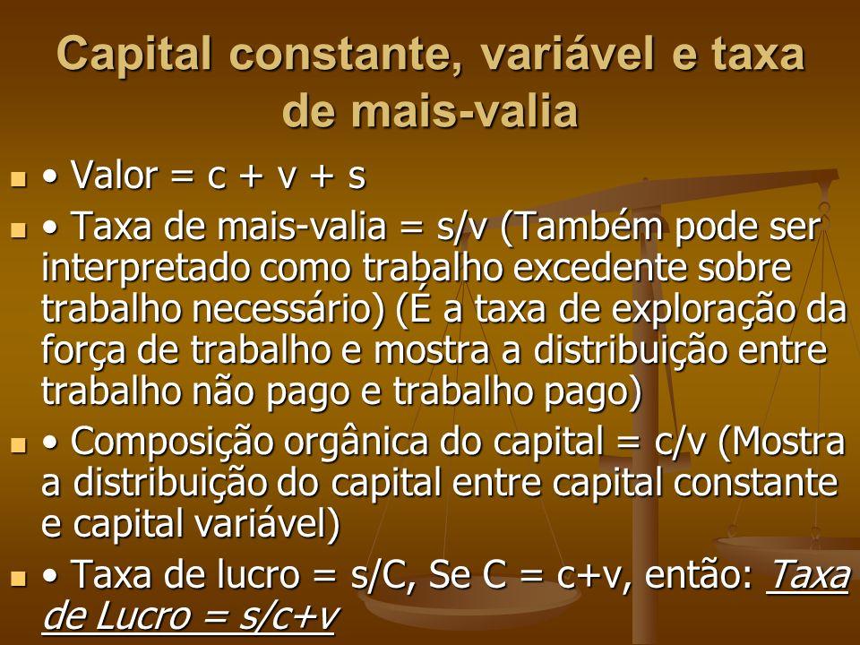 Capital constante, variável e taxa de mais-valia Valor = c + v + s Valor = c + v + s Taxa de mais-valia = s/v (Também pode ser interpretado como traba