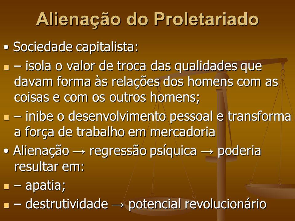 Alienação do Proletariado Sociedade capitalista: Sociedade capitalista: – isola o valor de troca das qualidades que davam forma às relações dos homens