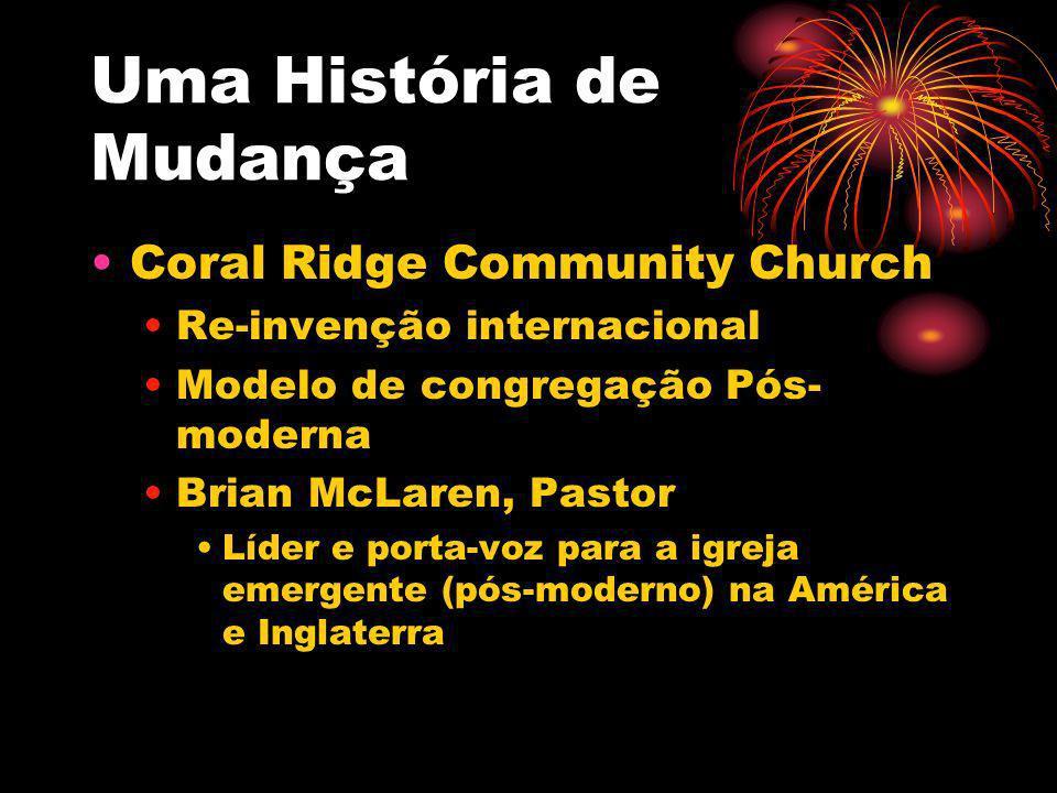 Uma História de Mudança Coral Ridge Community Church Re-invenção internacional Modelo de congregação Pós- moderna Brian McLaren, Pastor Líder e porta-