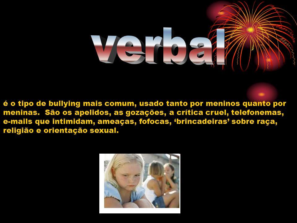 é o tipo de bullying mais comum, usado tanto por meninos quanto por meninas. São os apelidos, as gozações, a crítica cruel, telefonemas, e-mails que i