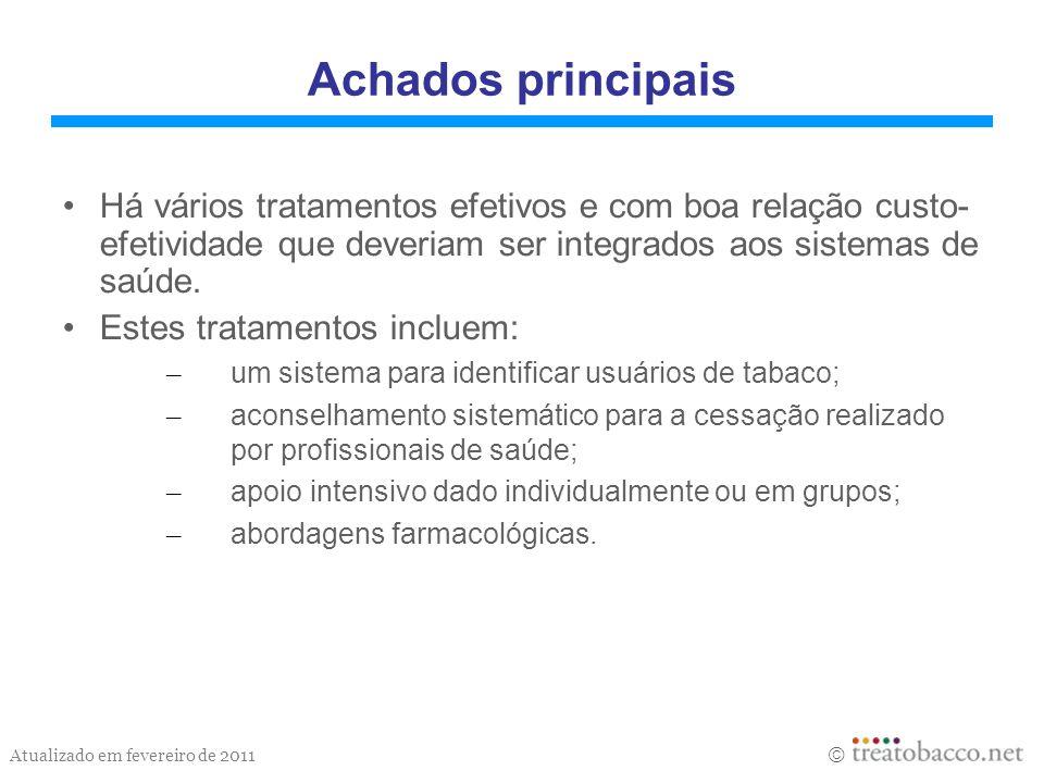 Atualizado em fevereiro de 2011 Achados principais Há vários tratamentos efetivos e com boa relação custo- efetividade que deveriam ser integrados aos