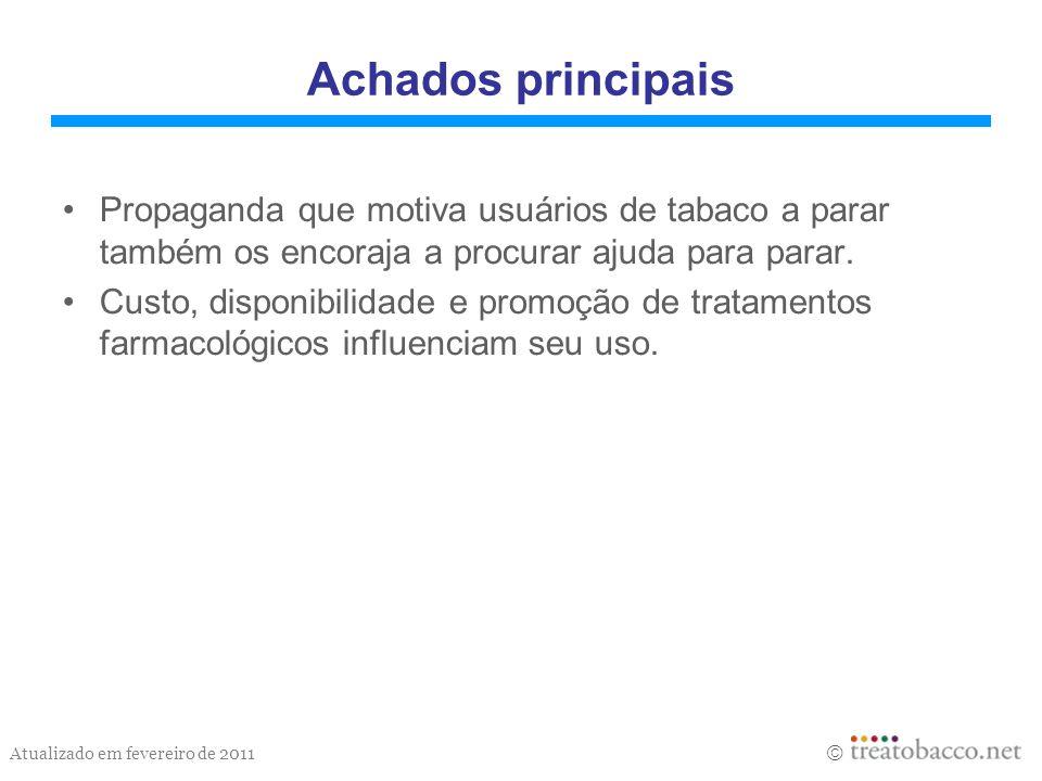 Atualizado em fevereiro de 2011 Achados principais Propaganda que motiva usuários de tabaco a parar também os encoraja a procurar ajuda para parar. Cu