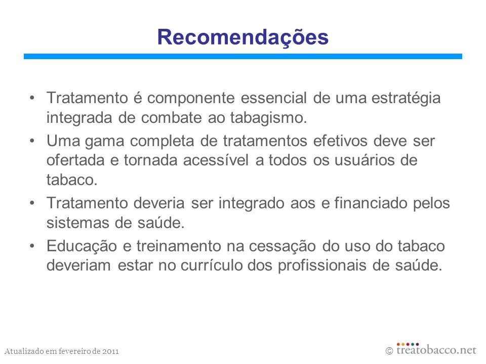 Atualizado em fevereiro de 2011 Recomendações Tratamento é componente essencial de uma estratégia integrada de combate ao tabagismo. Uma gama completa