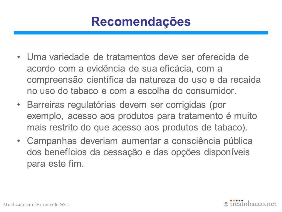 Atualizado em fevereiro de 2011 Recomendações Uma variedade de tratamentos deve ser oferecida de acordo com a evidência de sua eficácia, com a compree