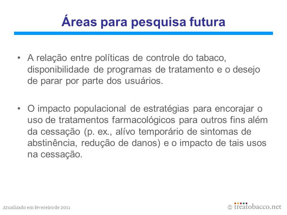 Atualizado em fevereiro de 2011 Áreas para pesquisa futura A relação entre políticas de controle do tabaco, disponibilidade de programas de tratamento