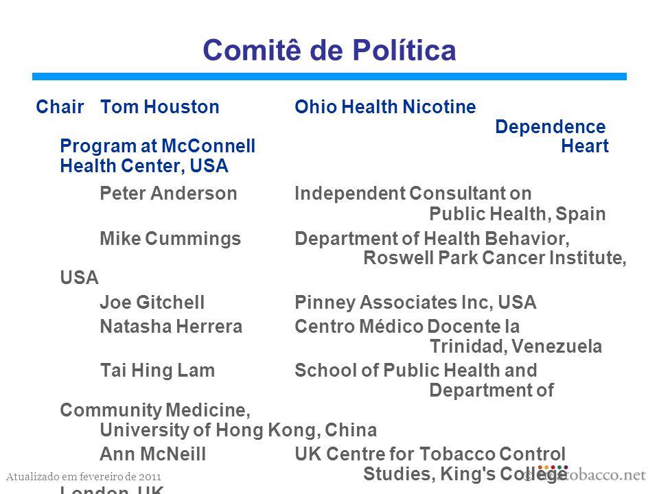Atualizado em fevereiro de 2011 Objetivo Prover informação sobre políticas relacionadas ao tratamento da dependência do tabaco e chamar a atenção para documentos importantes sobre estas políticas.