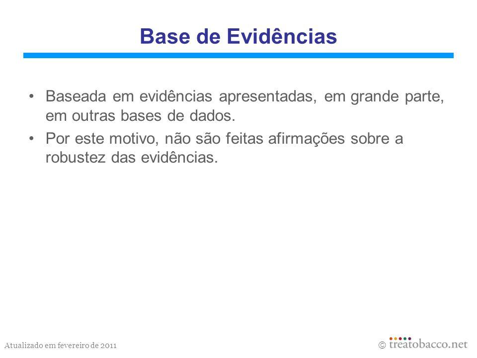 Atualizado em fevereiro de 2011 Base de Evidências Baseada em evidências apresentadas, em grande parte, em outras bases de dados. Por este motivo, não