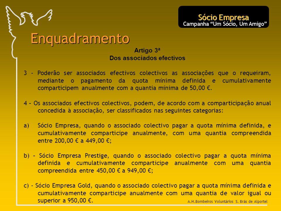 Artigo 3ª Dos associados efectivos 3 - Poderão ser associados efectivos colectivos as associações que o requeiram, mediante o pagamento da quota mínim