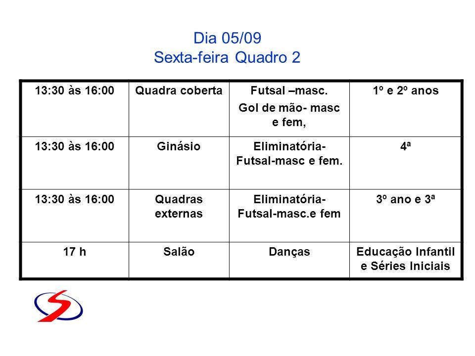 Dia 05/09 Sexta-feira Quadro 2 13:30 às 16:00Quadra cobertaFutsal –masc. Gol de mão- masc e fem, 1º e 2º anos 13:30 às 16:00GinásioEliminatória- Futsa