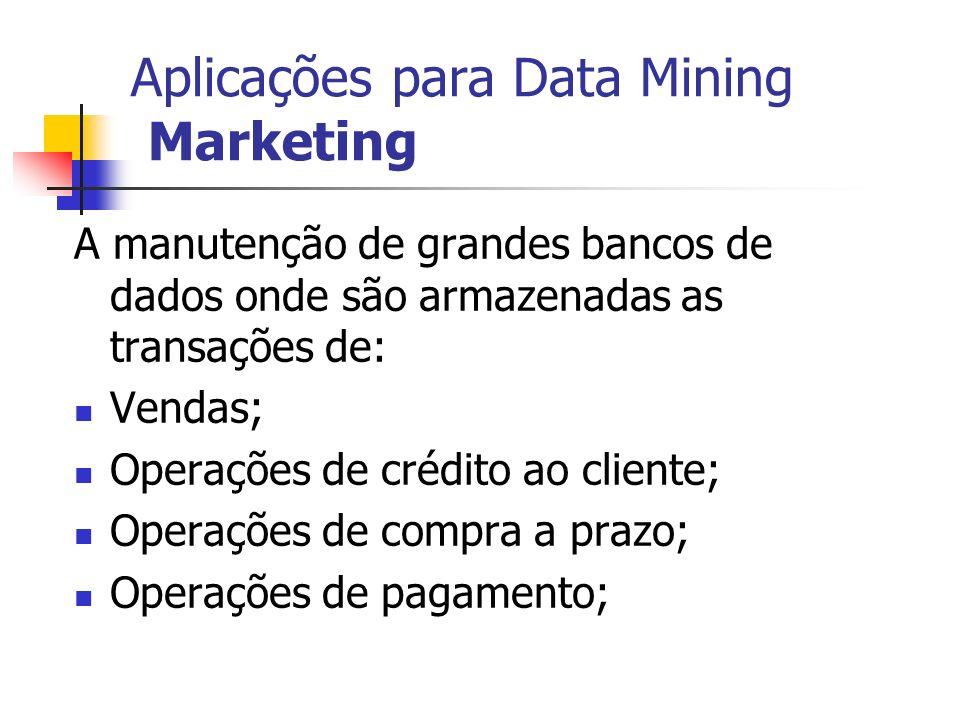 Aplicações para Data Mining Marketing A manutenção de grandes bancos de dados onde são armazenadas as transações de: Vendas; Operações de crédito ao c