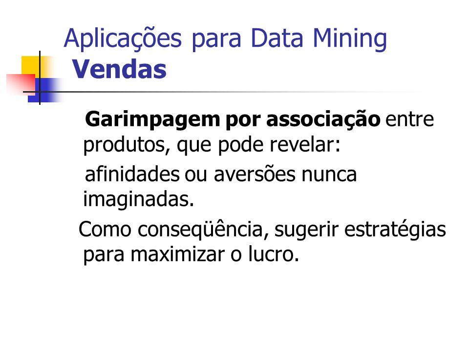 Aplicações para Data Mining Vendas Garimpagem por associação entre produtos, que pode revelar: afinidades ou aversões nunca imaginadas. Como conseqüên