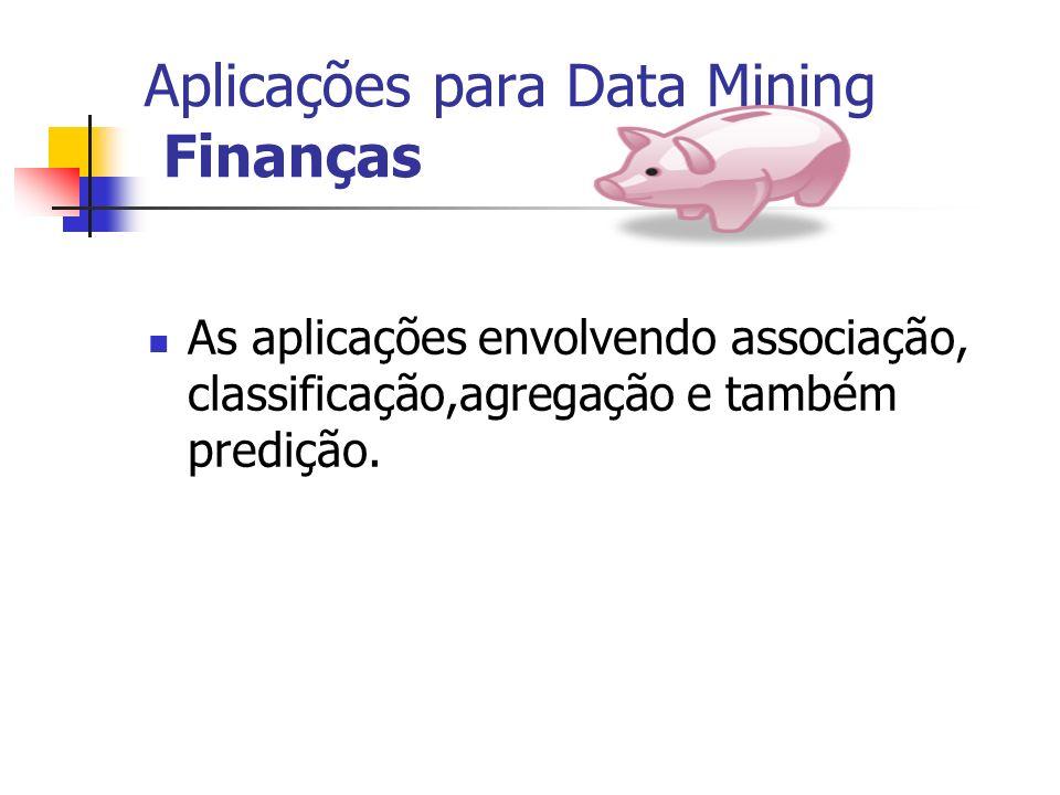 Aplicações para Data Mining Finanças As aplicações envolvendo associação, classificação,agregação e também predição.