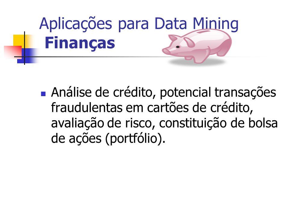 Aplicações para Data Mining Finanças Análise de crédito, potencial transações fraudulentas em cartões de crédito, avaliação de risco, constituição de