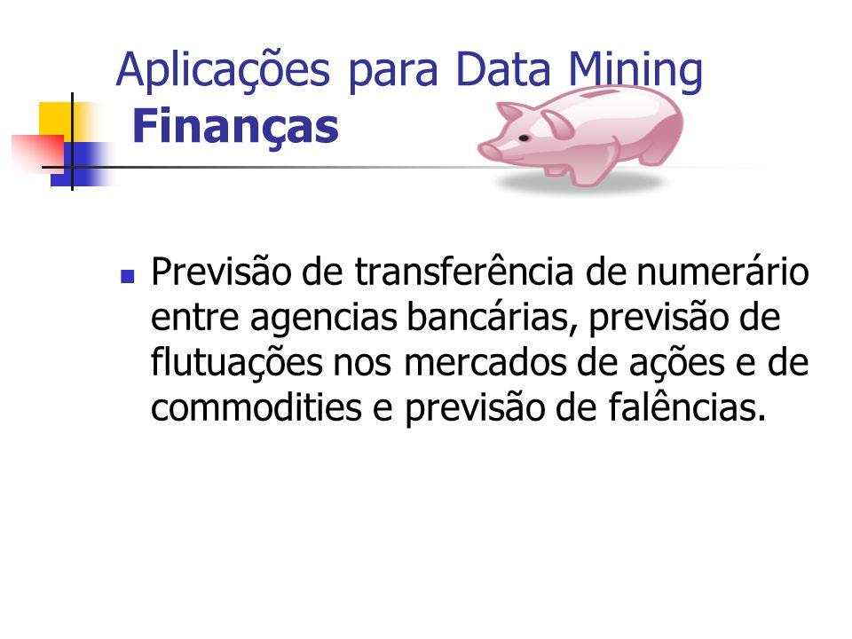 Aplicações para Data Mining Finanças Previsão de transferência de numerário entre agencias bancárias, previsão de flutuações nos mercados de ações e d