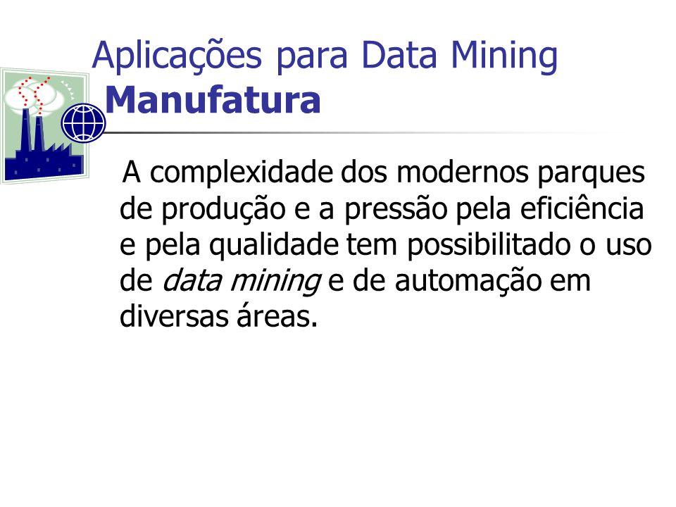 Aplicações para Data Mining Manufatura A complexidade dos modernos parques de produção e a pressão pela eficiência e pela qualidade tem possibilitado