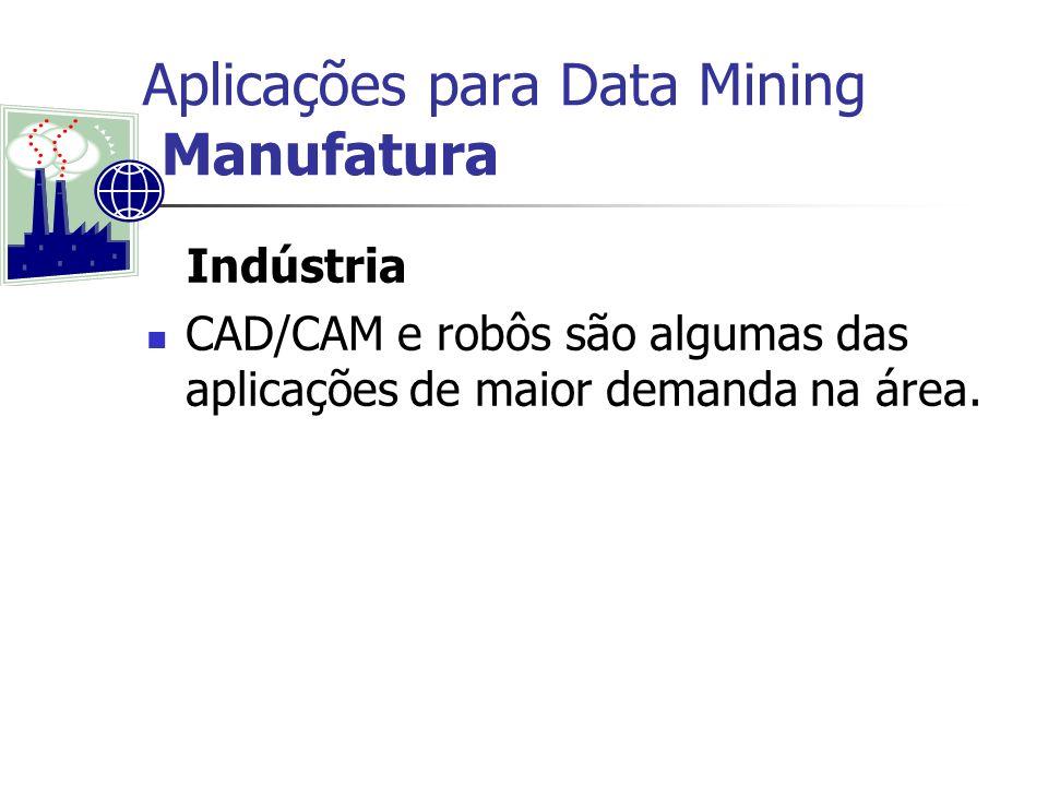 Aplicações para Data Mining Manufatura Indústria CAD/CAM e robôs são algumas das aplicações de maior demanda na área.