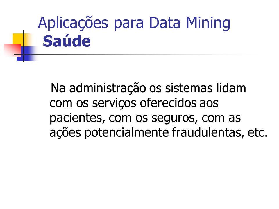 Aplicações para Data Mining Saúde Na administração os sistemas lidam com os serviços oferecidos aos pacientes, com os seguros, com as ações potencialm