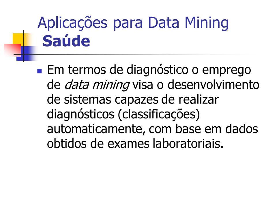 Aplicações para Data Mining Saúde Em termos de diagnóstico o emprego de data mining visa o desenvolvimento de sistemas capazes de realizar diagnóstico