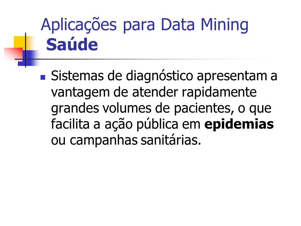 Aplicações para Data Mining Saúde Sistemas de diagnóstico apresentam a vantagem de atender rapidamente grandes volumes de pacientes, o que facilita a