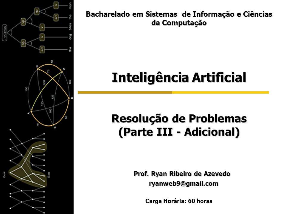 Inteligência Artificial Resolução de Problemas (Parte III - Adicional) Prof. Ryan Ribeiro de Azevedo Prof. Ryan Ribeiro de Azevedo ryanweb9@gmail.com