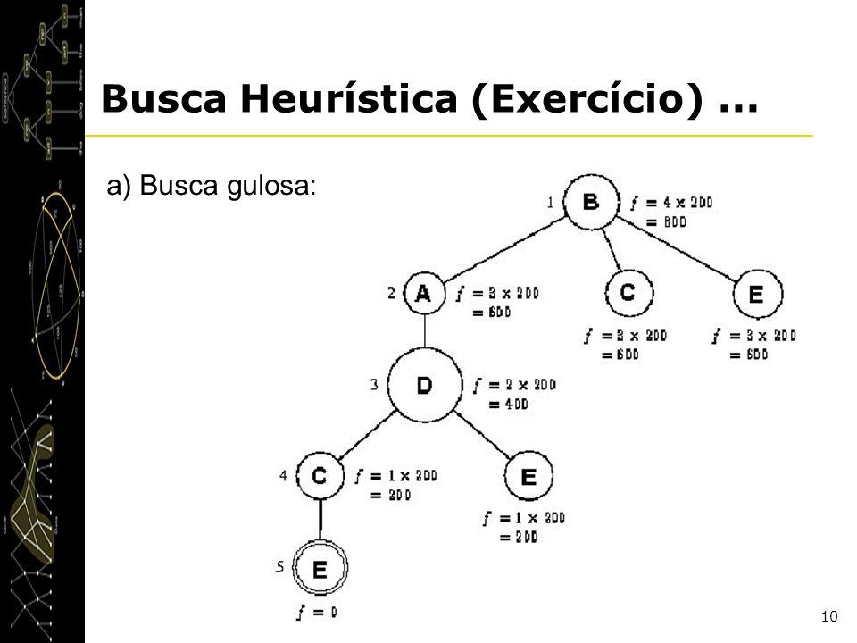 10 Busca Heurística (Exercício)... a) Busca gulosa: