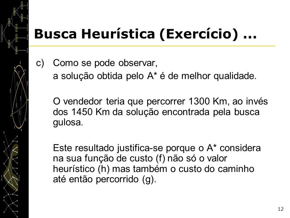 12 Busca Heurística (Exercício)... c)Como se pode observar, a solução obtida pelo A* é de melhor qualidade. O vendedor teria que percorrer 1300 Km, ao
