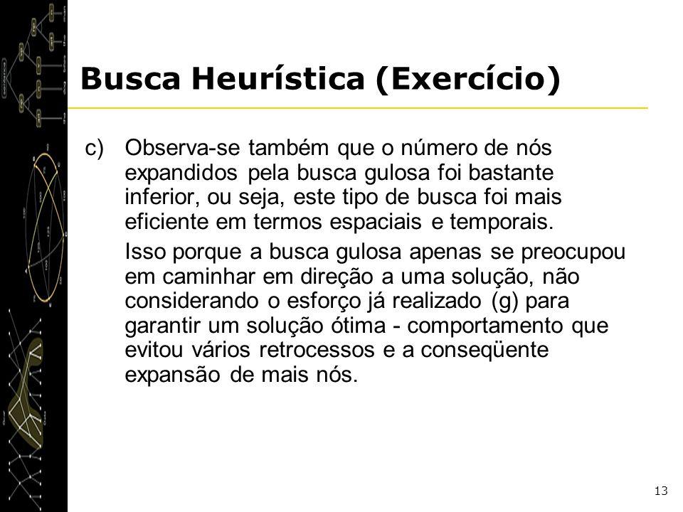 13 Busca Heurística (Exercício) c)Observa-se também que o número de nós expandidos pela busca gulosa foi bastante inferior, ou seja, este tipo de busc