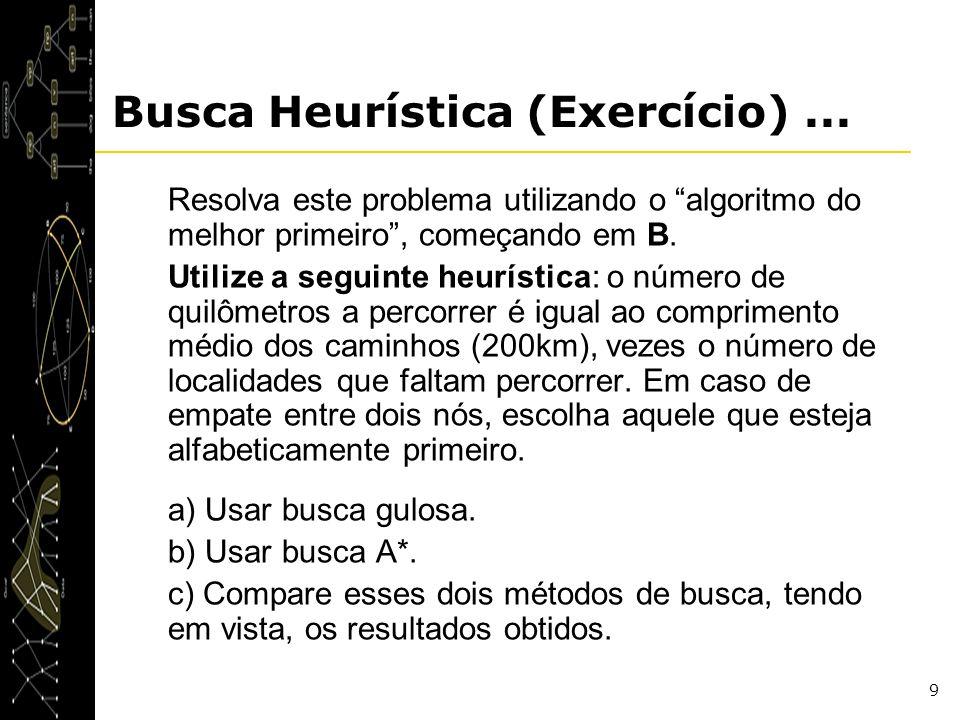 9 Busca Heurística (Exercício)... Resolva este problema utilizando o algoritmo do melhor primeiro, começando em B. Utilize a seguinte heurística: o nú