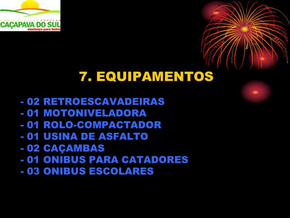 7. EQUIPAMENTOS - 02 RETROESCAVADEIRAS - 01 MOTONIVELADORA - 01 ROLO-COMPACTADOR - 01 USINA DE ASFALTO - 02 CAÇAMBAS - 01 ONIBUS PARA CATADORES - 03 O