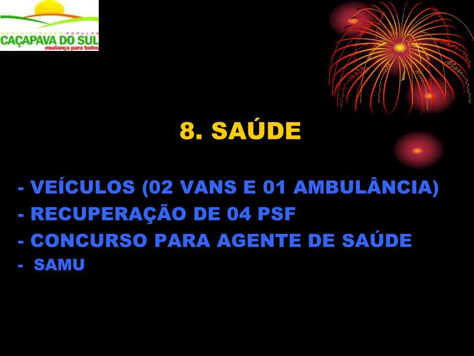 8. SAÚDE - VEÍCULOS (02 VANS E 01 AMBULÂNCIA) - RECUPERAÇÃO DE 04 PSF - CONCURSO PARA AGENTE DE SAÚDE - SAMU