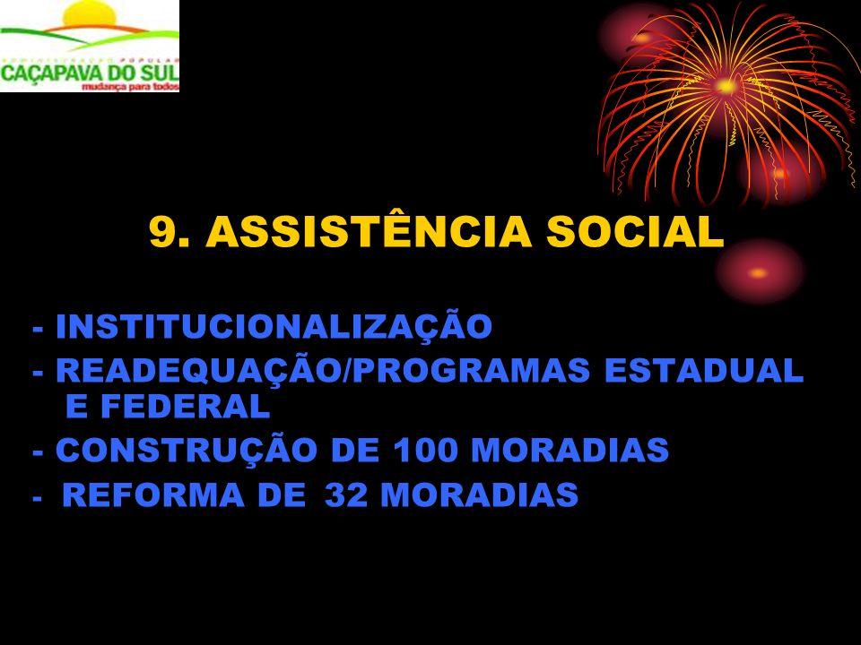 9. ASSISTÊNCIA SOCIAL - INSTITUCIONALIZAÇÃO - READEQUAÇÃO/PROGRAMAS ESTADUAL E FEDERAL - CONSTRUÇÃO DE 100 MORADIAS - REFORMA DE 32 MORADIAS