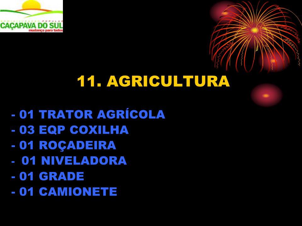 11. AGRICULTURA - 01 TRATOR AGRÍCOLA - 03 EQP COXILHA - 01 ROÇADEIRA - 01 NIVELADORA - 01 GRADE - 01 CAMIONETE