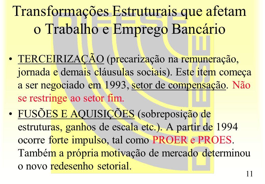11 Transformações Estruturais que afetam o Trabalho e Emprego Bancário TERCEIRIZAÇÃO (precarização na remuneração, jornada e demais cláusulas sociais)