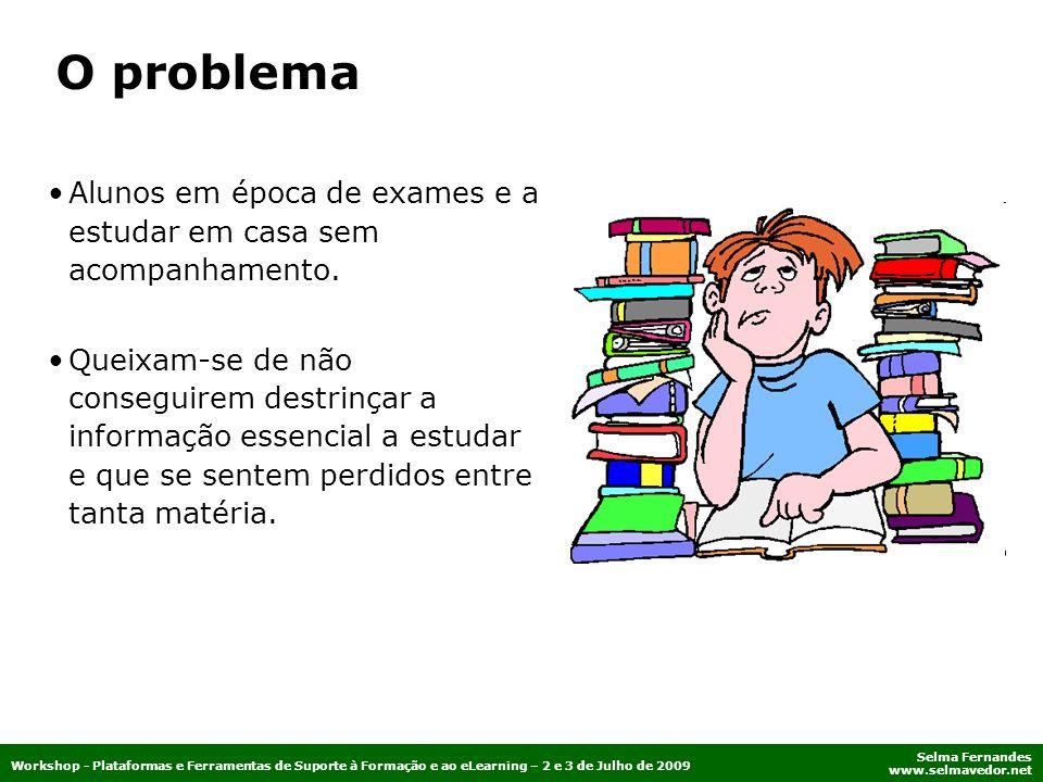 Selma Fernandes www.selmavedor.net Workshop - Plataformas e Ferramentas de Suporte à Formação e ao eLearning – 2 e 3 de Julho de 2009 Alunos em época