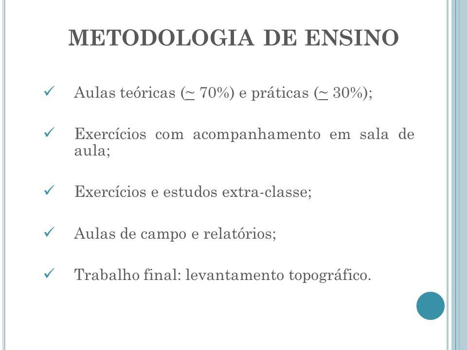 METODOLOGIA DE ENSINO Aulas teóricas (~ 70%) e práticas (~ 30%); Exercícios com acompanhamento em sala de aula; Exercícios e estudos extra-classe; Aul