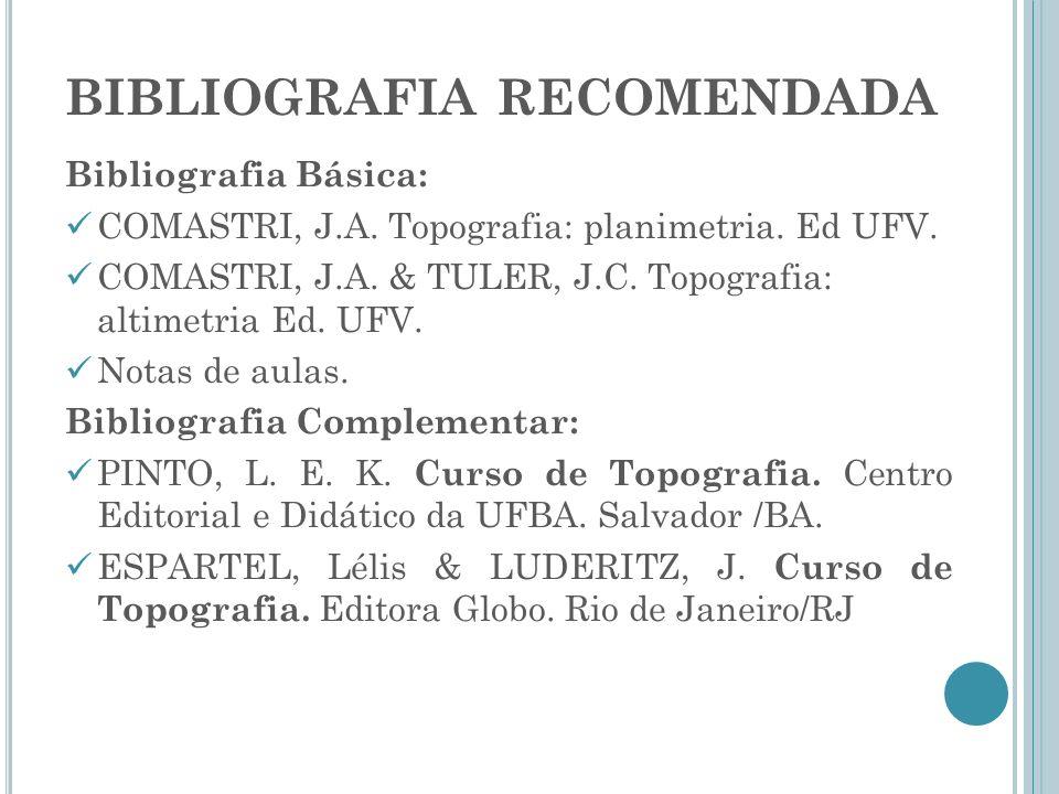 BIBLIOGRAFIA RECOMENDADA Bibliografia Básica: COMASTRI, J.A. Topografia: planimetria. Ed UFV. COMASTRI, J.A. & TULER, J.C. Topografia: altimetria Ed.