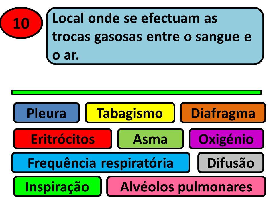 Pleura Eritrócitos Tabagismo Asma Frequência respiratória Inspiração Difusão Oxigénio Alvéolos pulmonares Diafragma 9 Movimento de entrada de ar nos p