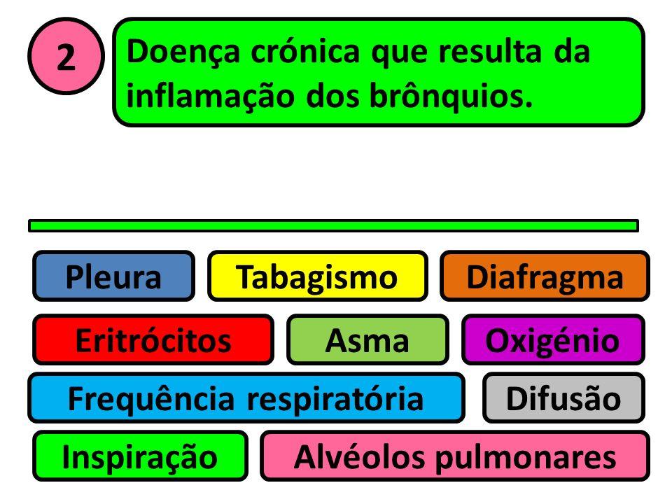 Pleura Eritrócitos Tabagismo Asma Frequência respiratória Inspiração Difusão Oxigénio Alvéolos pulmonares Diafragma 1 Células sanguíneas que transport