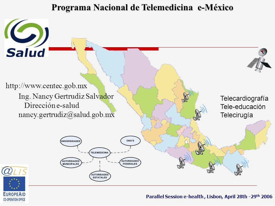 Programa Nacional de Telemedicina e-México http://www.centec.gob.mx Ing. Nancy Gertrudiz Salvador Dirección e-salud nancy.gertrudiz@salud.gob.mx Paral