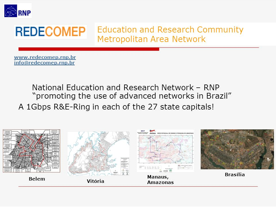 Education and Research Community Metropolitan Area Network National Education and Research Network – RNP promoting the use of advanced networks in Bra
