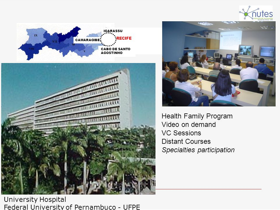 University Hospital Federal University of Pernambuco - UFPE Health Family Program Video on demand VC Sessions Distant Courses Specialties participatio