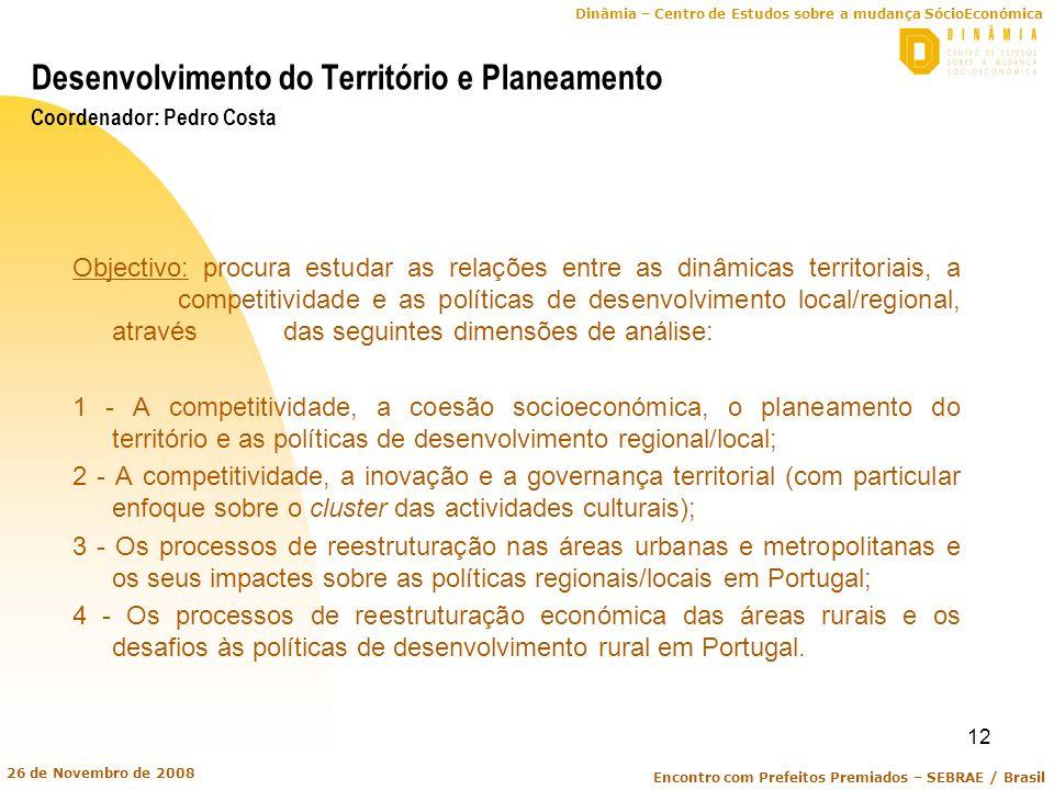 Dinâmia – Centro de Estudos sobre a mudança SócioEconómica Encontro com Prefeitos Premiados – SEBRAE / Brasil 26 de Novembro de 2008 12 Desenvolviment