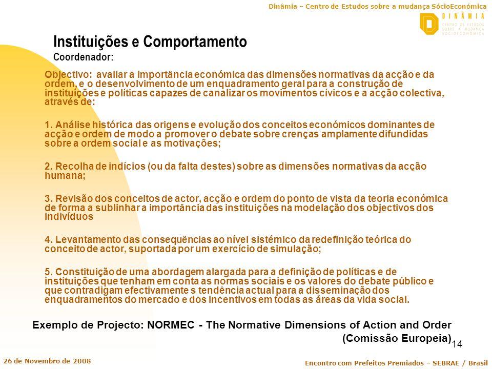 Dinâmia – Centro de Estudos sobre a mudança SócioEconómica Encontro com Prefeitos Premiados – SEBRAE / Brasil 26 de Novembro de 2008 14 Instituições e