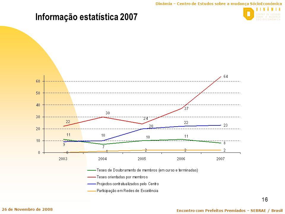 Dinâmia – Centro de Estudos sobre a mudança SócioEconómica Encontro com Prefeitos Premiados – SEBRAE / Brasil 26 de Novembro de 2008 16 Informação est