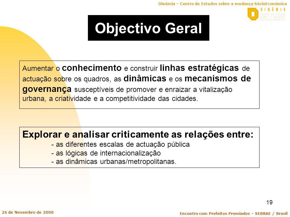 Dinâmia – Centro de Estudos sobre a mudança SócioEconómica Encontro com Prefeitos Premiados – SEBRAE / Brasil 26 de Novembro de 2008 19 Objectivo Gera