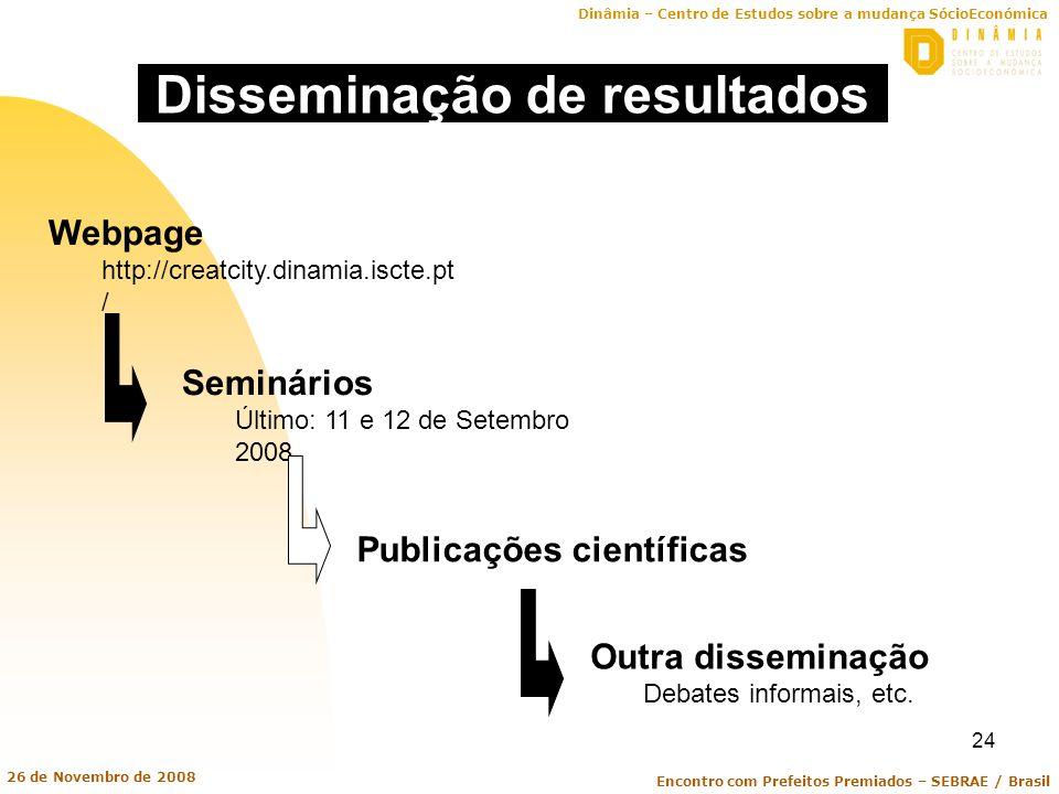 Dinâmia – Centro de Estudos sobre a mudança SócioEconómica Encontro com Prefeitos Premiados – SEBRAE / Brasil 26 de Novembro de 2008 24 Disseminação d